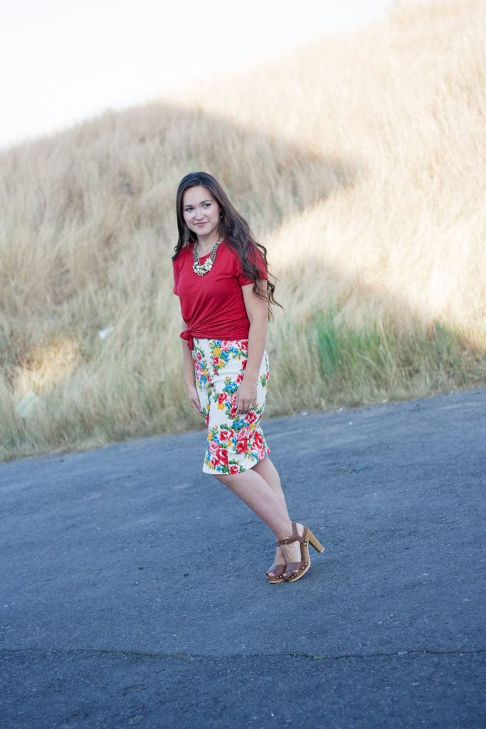Patterns for Pirates Pencil Skirt and Hey June Union St. Tee made from red rayon knit and floral liverpool from Knitpop