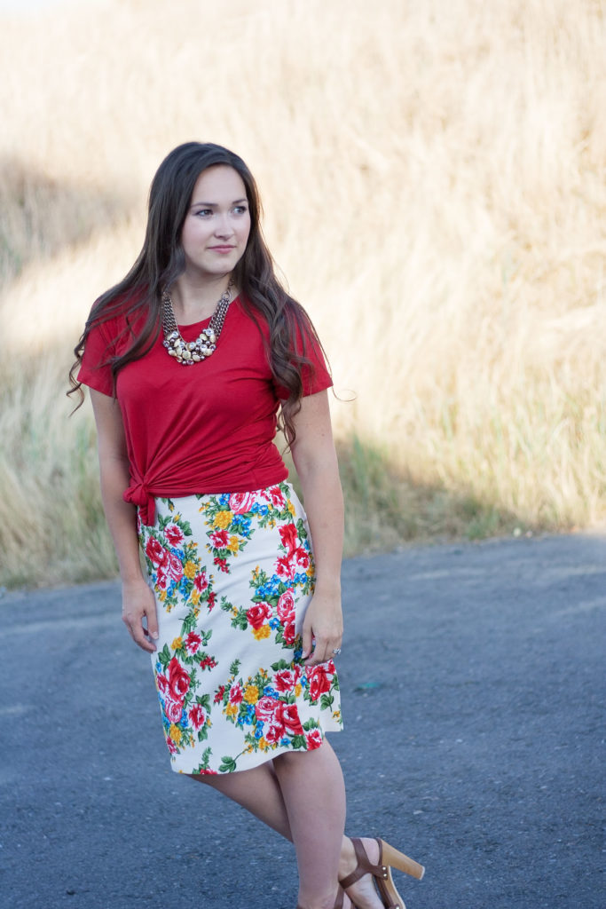 Floral Patterns for Pirates Pencil Skirt and Red Hey June Union St. Tee