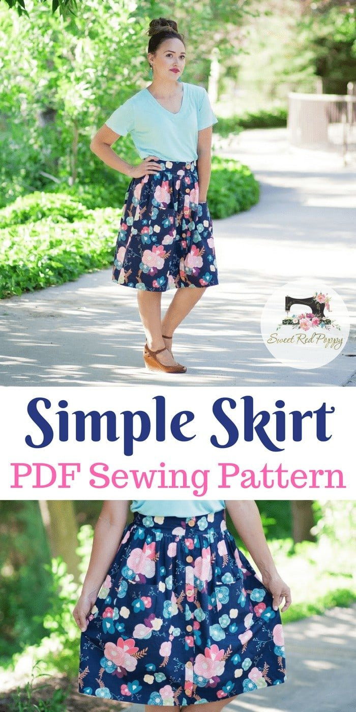 Simple Skirt PDF Sewing Pattern Sew Caroline