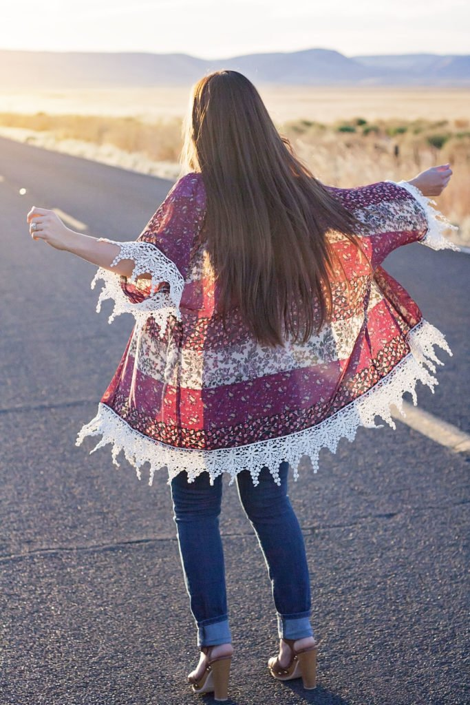Back view of The Willow Kimono PDF Sewing Pattern from Designer Stitch