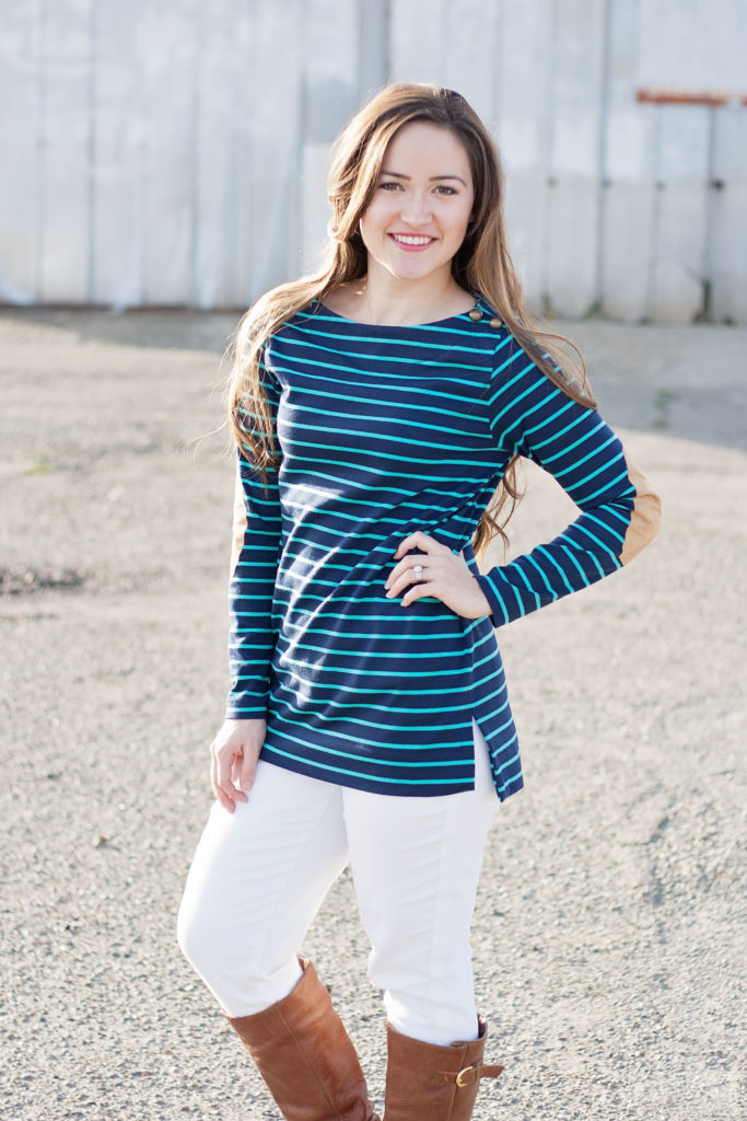 Love Notions PDF Sewing Pattern Terra Tunic Ponte De Roma Fabric Navy Blue and Turquoise
