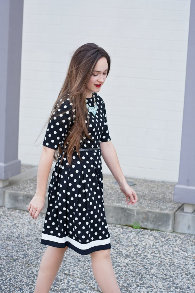 black and white polka dot dress sewing pattern