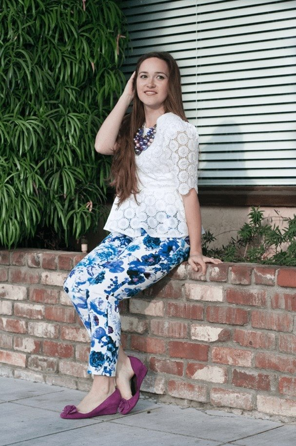 PDF Sewing Pattern white Peplum Top and floral Pants