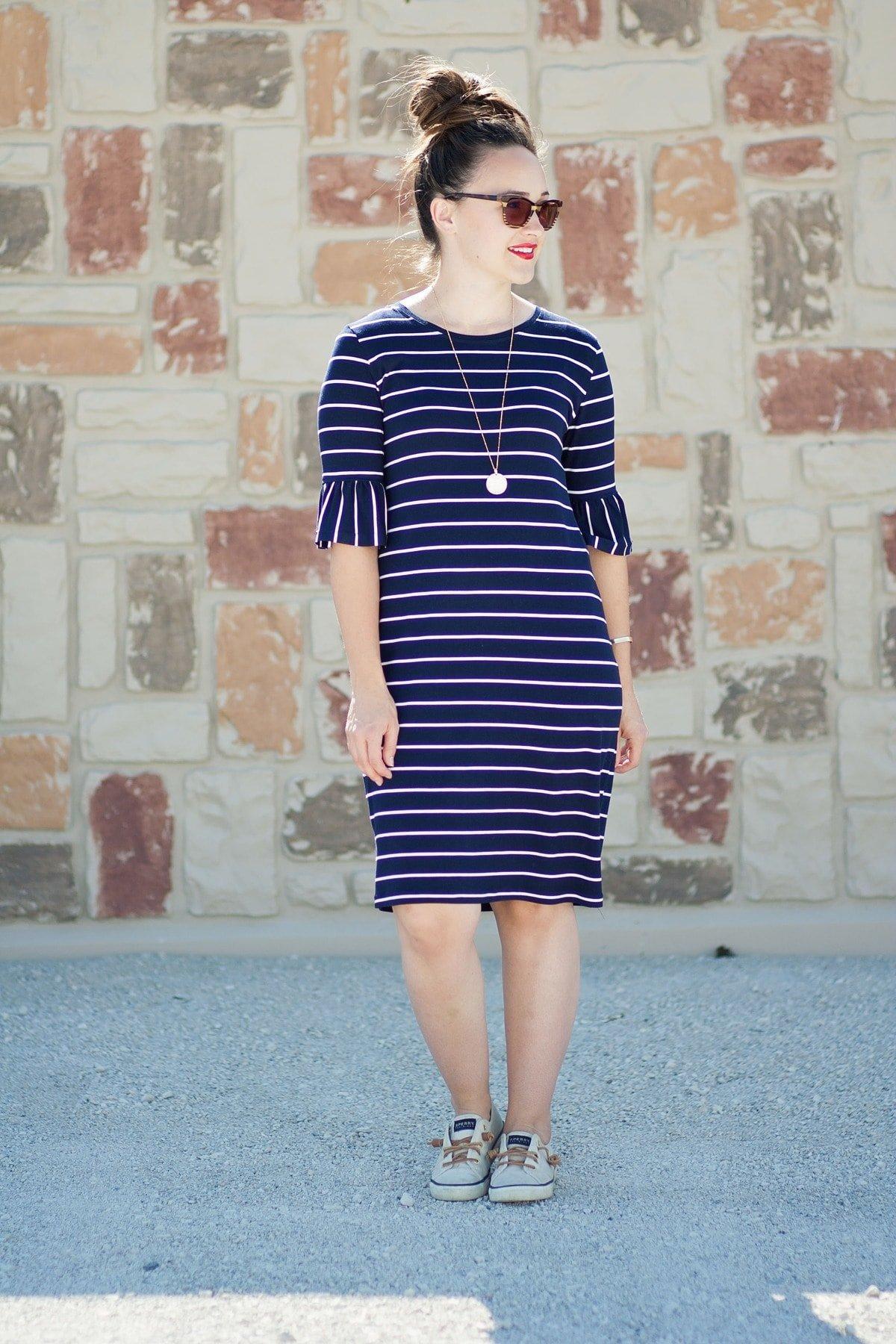 Panama Tee Dress Sewing Pattern Blue and White Striped Knit Dress