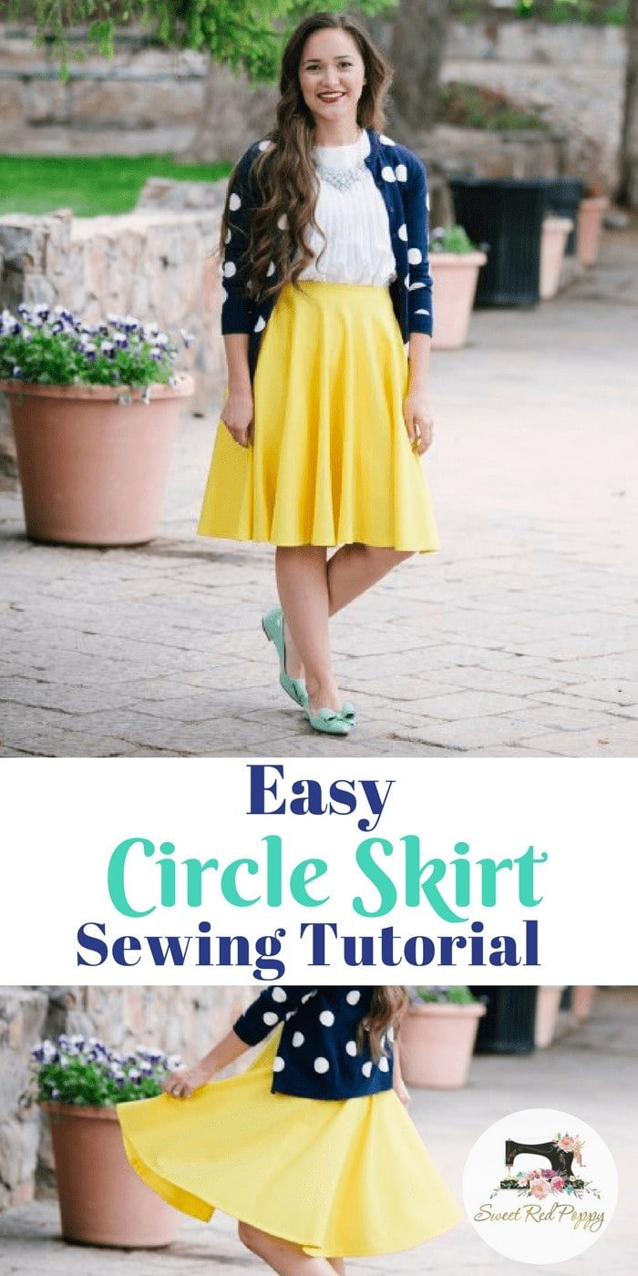 Easy Circle Skirt Tutorial Free PDF Pattern Yellow Skirt Beginner friendly