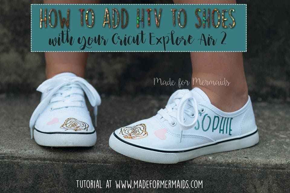 Made For Mermaids Holographic HTV Iron-On name DIY tutorial for shoes
