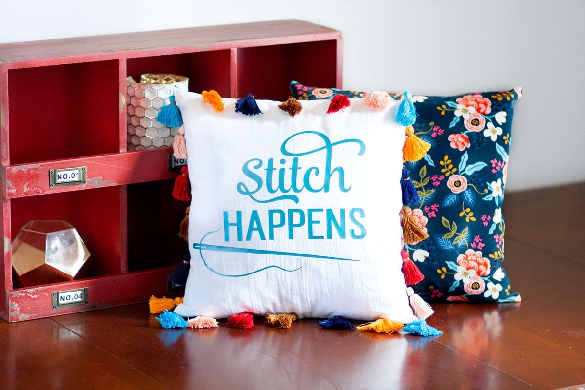 Stitch Happens Diy Tassel Pillow Cricut Sewing Blog Tour Sweet Red Poppy