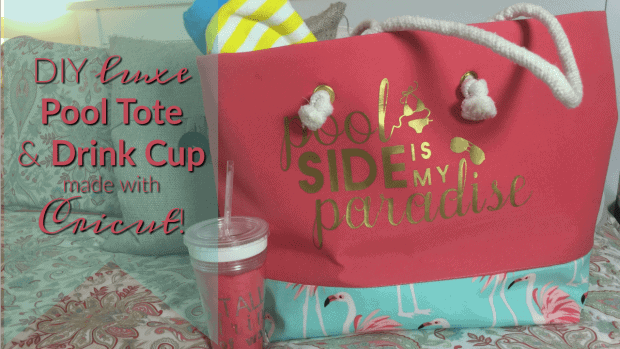 Inside The Hem Pool Tote and Drink Cup Free Cut file for HTV Iron-On