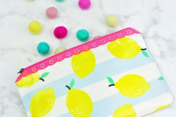 Laminated Lace Zipper Pouch Bag Free Sewing Tutorial Thermoweb Iron-On Clear Vinyl Riley Blake Designs Just Add Sugar Fabric