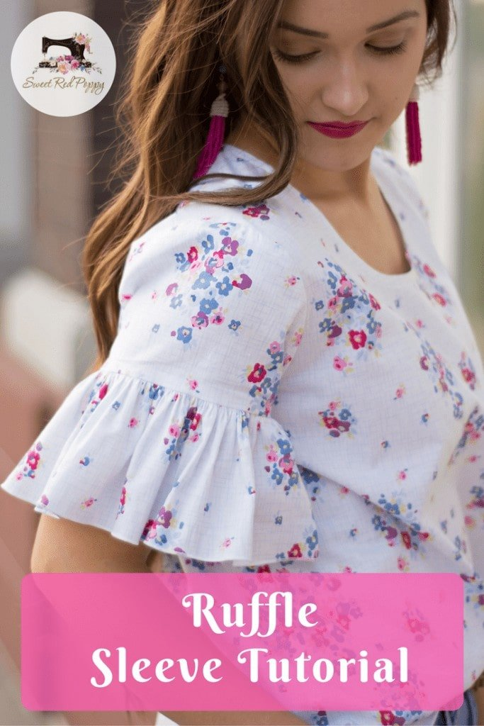 DIY Ruffle Sleeve Tutorial featuring Blue Carolina Fabric from Riley Blake Designs and Grainline Scout Tee PDF Sewing Pattern