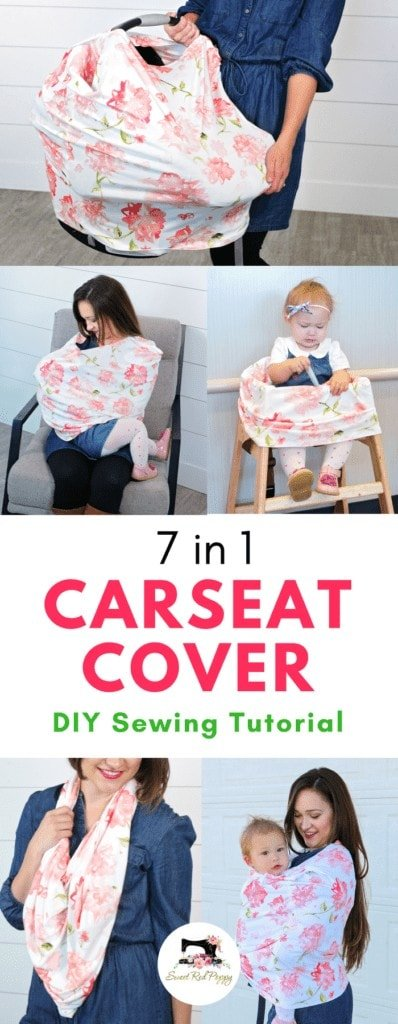 Carseat Cover Pattern & Sewing Tutorial featured by top US sewing blogger, Sweet Red Poppy