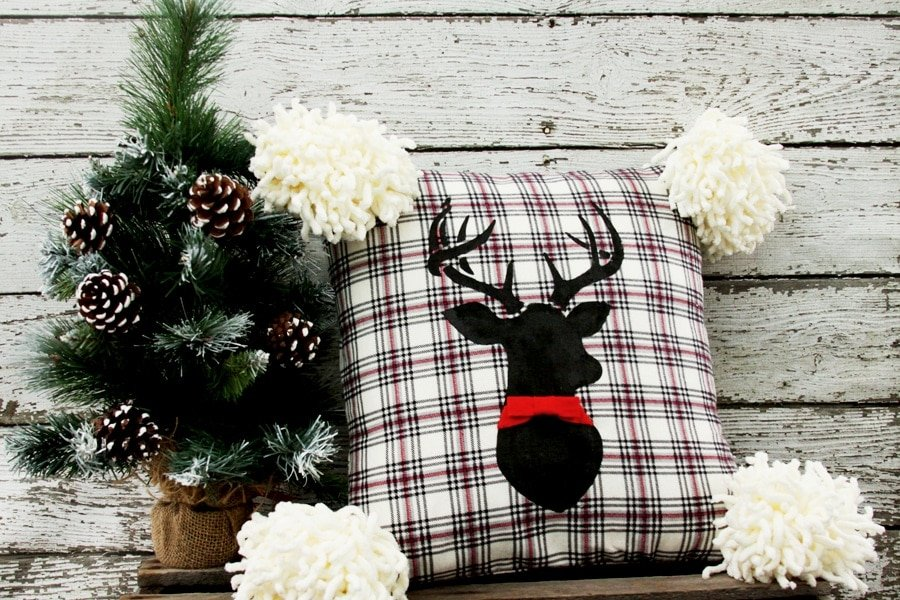 20+ Christmas Sewing Projects featured by top US craft blogger, Sweet Red Poppy: Flamingo Toes Deer Pillow Sewing Tutorial