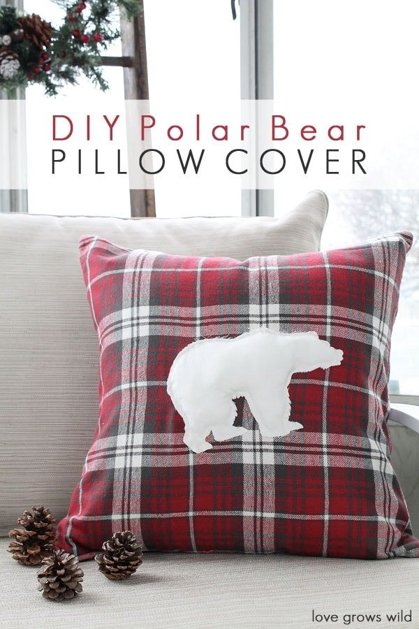 20+ Christmas Sewing Projects featured by top US craft blogger, Sweet Red Poppy: Love Grows Wild DIY Polar Bear Pillow Cover