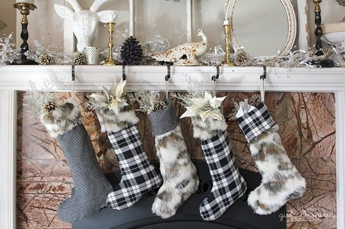 20+ Christmas Sewing Projects featured by top US craft blogger, Sweet Red Poppy: Girl Inspired Modern Christmas Fur and Plaid Stockings Sewing Tutorial