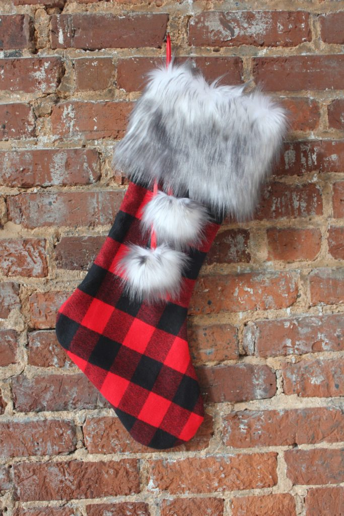 20+ Christmas Sewing Projects featured by top US craft blogger, Sweet Red Poppy: Fabric.com Christmas Flannel and Fur Stocking Sewing Tutorial