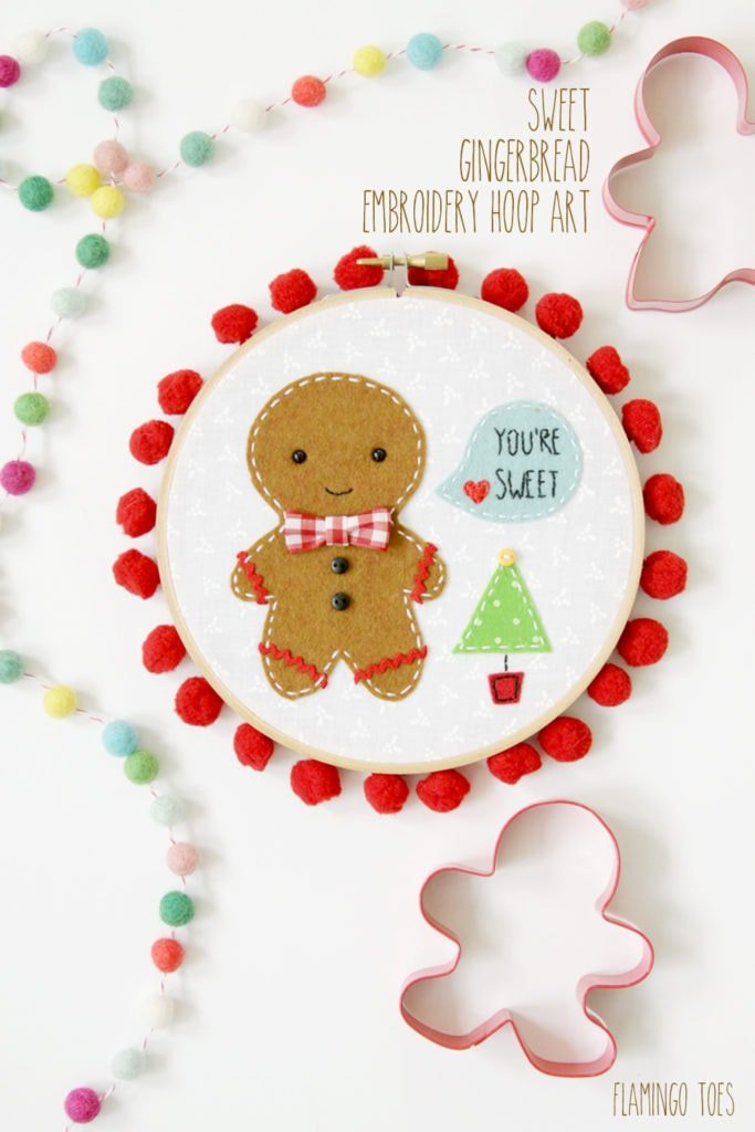 20+ Christmas Sewing Projects featured by top US craft blogger, Sweet Red Poppy: Flamingo Toes Sweet Gingerbread Embroidery Hoop Art