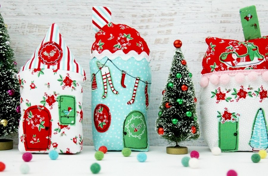 20+ Christmas Sewing Projects featured by top US craft blogger, Sweet Red Poppy: Fabric.com Holiday Village Sewing Tutorial With Pixie Noel Fabric