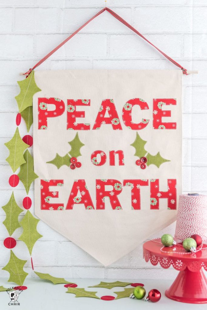 Polka Dot Chair Peace on Earth Christmas Banner Sewing Tutorial Cricut Maker