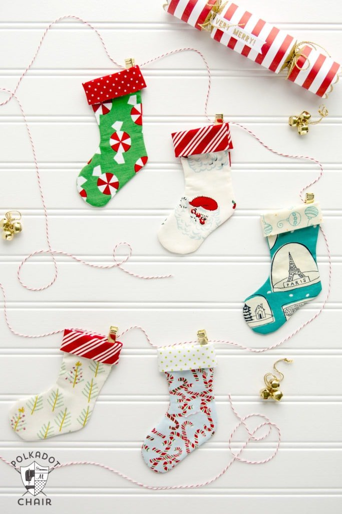 20+ Christmas Sewing Projects featured by top US craft blogger, Sweet Red Poppy: Polka Dot Chair Christmas Stocking Garland Tutorial