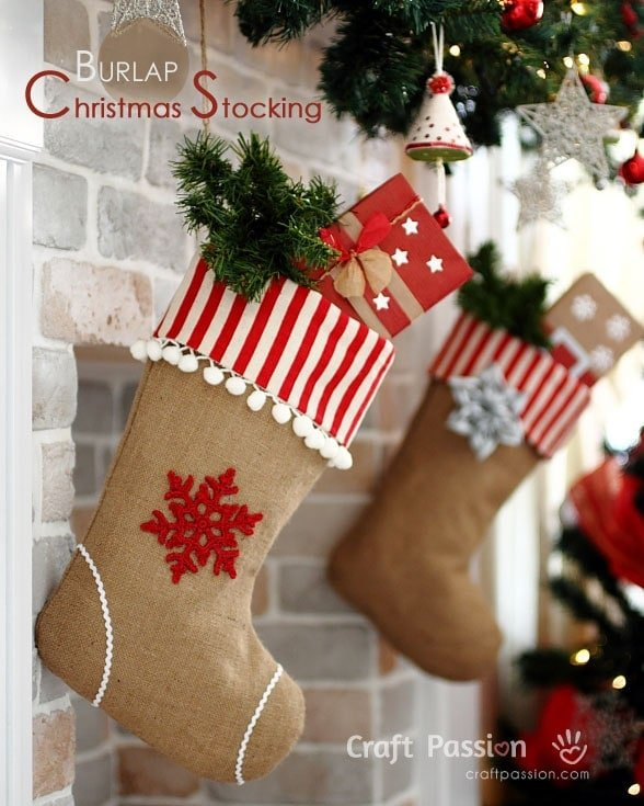 20+ Christmas Sewing Projects featured by top US craft blogger, Sweet Red Poppy: Craft Passion Burlap Christmas Stocking with Pom Pom Trim Sewing Tutorial