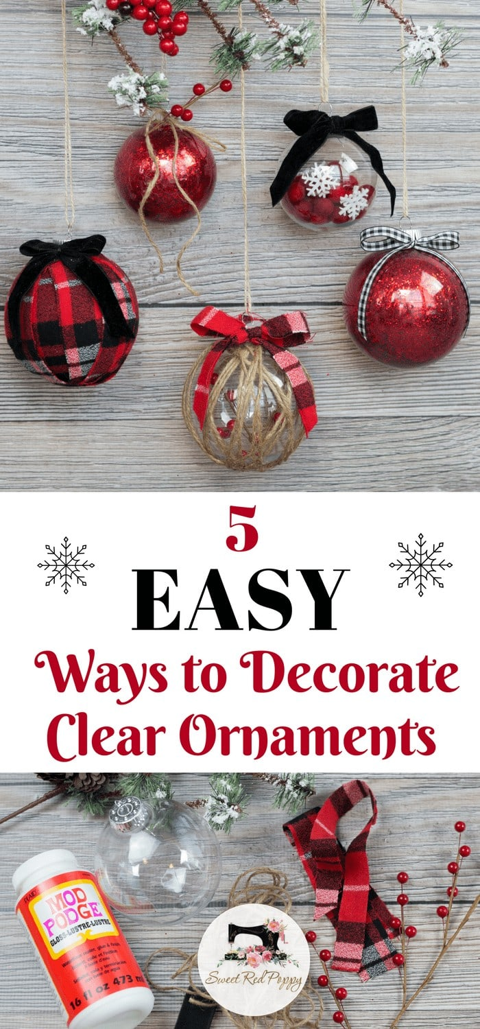 Decorating Clear Plastic Ornaments For Christmas Sweet Red Poppy