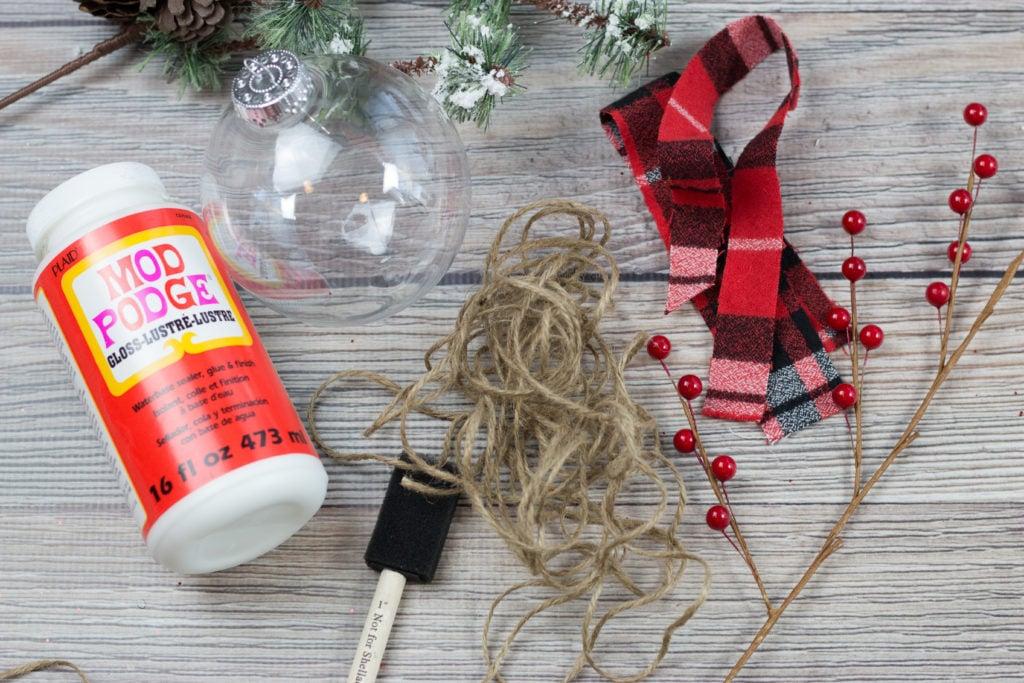 Mod Podge Clear Plastic Christmas Ornament Twine Tutorial