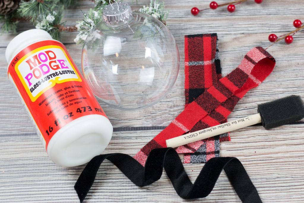 Mod Podge Clear Plastic Christmas Ornament Fabric Tutorial