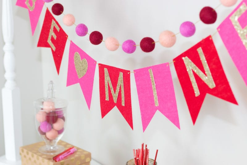 Learn how to make this adorable Valentine's Day Bunting Banner and Felt Ball Garland!
