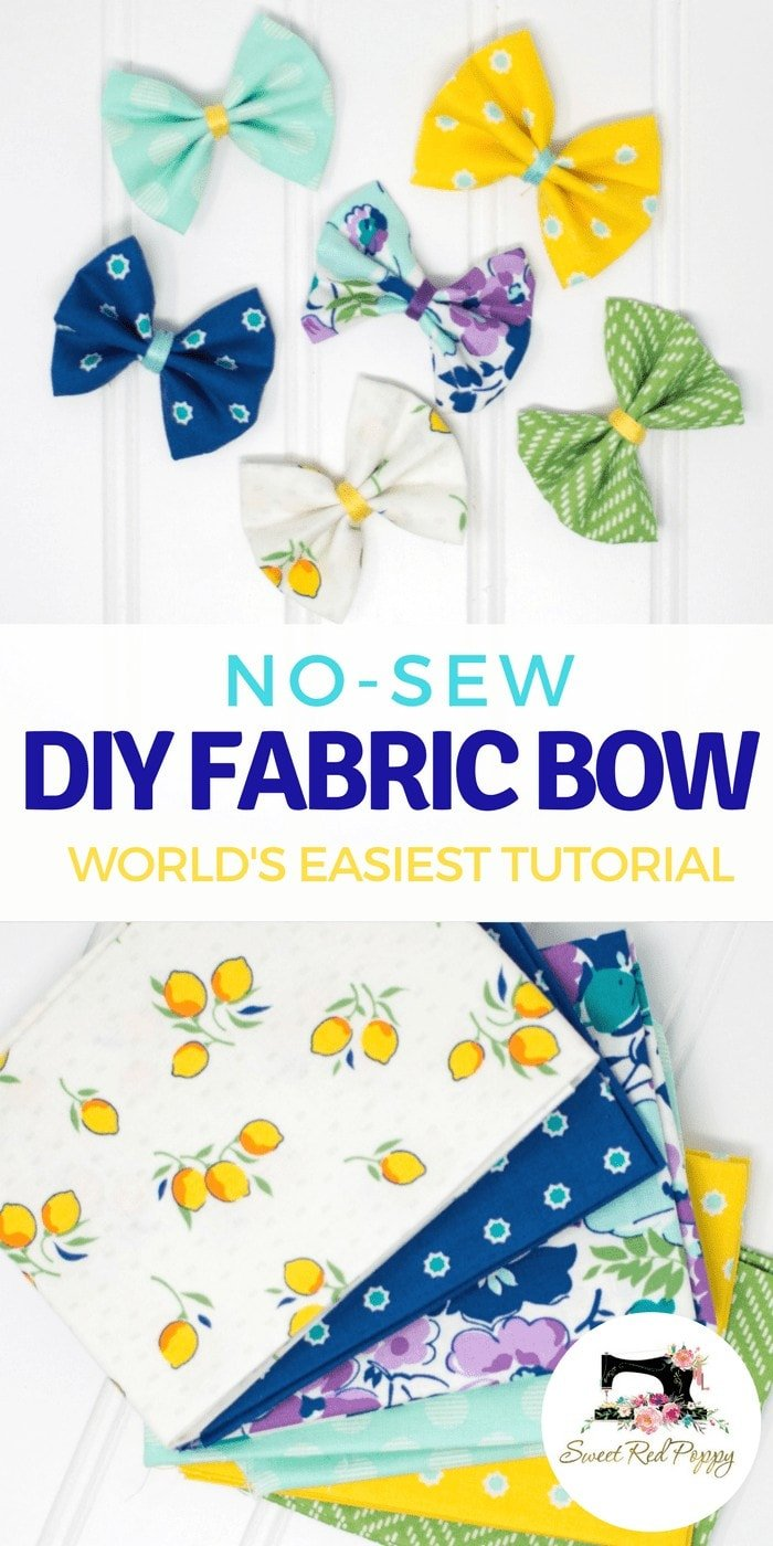 No Sew Fabric Hair Bows Tutorial featured by top US sewing blog, Sweet Red Poppy