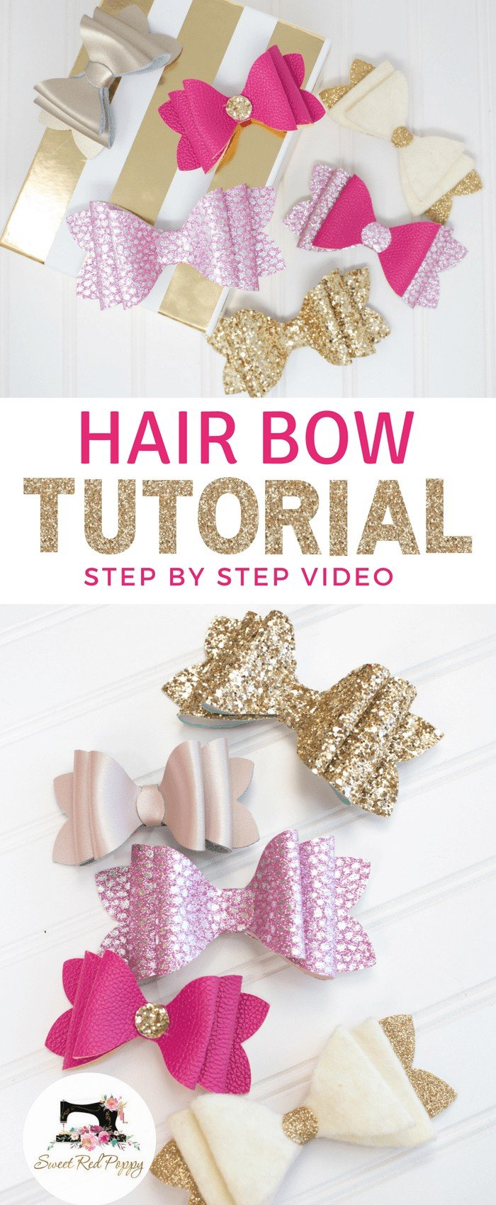 How to Make Hair Bows: Stacked French Hair Bow Tutorial: staked French hair bow tutorial shared by top US craft blog, Sweet Red Poppy: Chunky 3 Layer Girls French Bow DIY & Tutorial