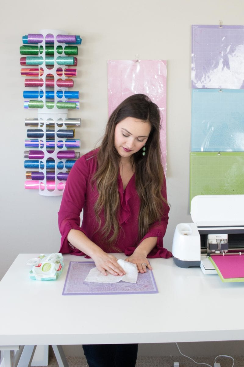 The Best Cricut Hacks featured by top US craft blog, Sweet Red Poppy: Clean a Cricut Mat with Baby Wipes