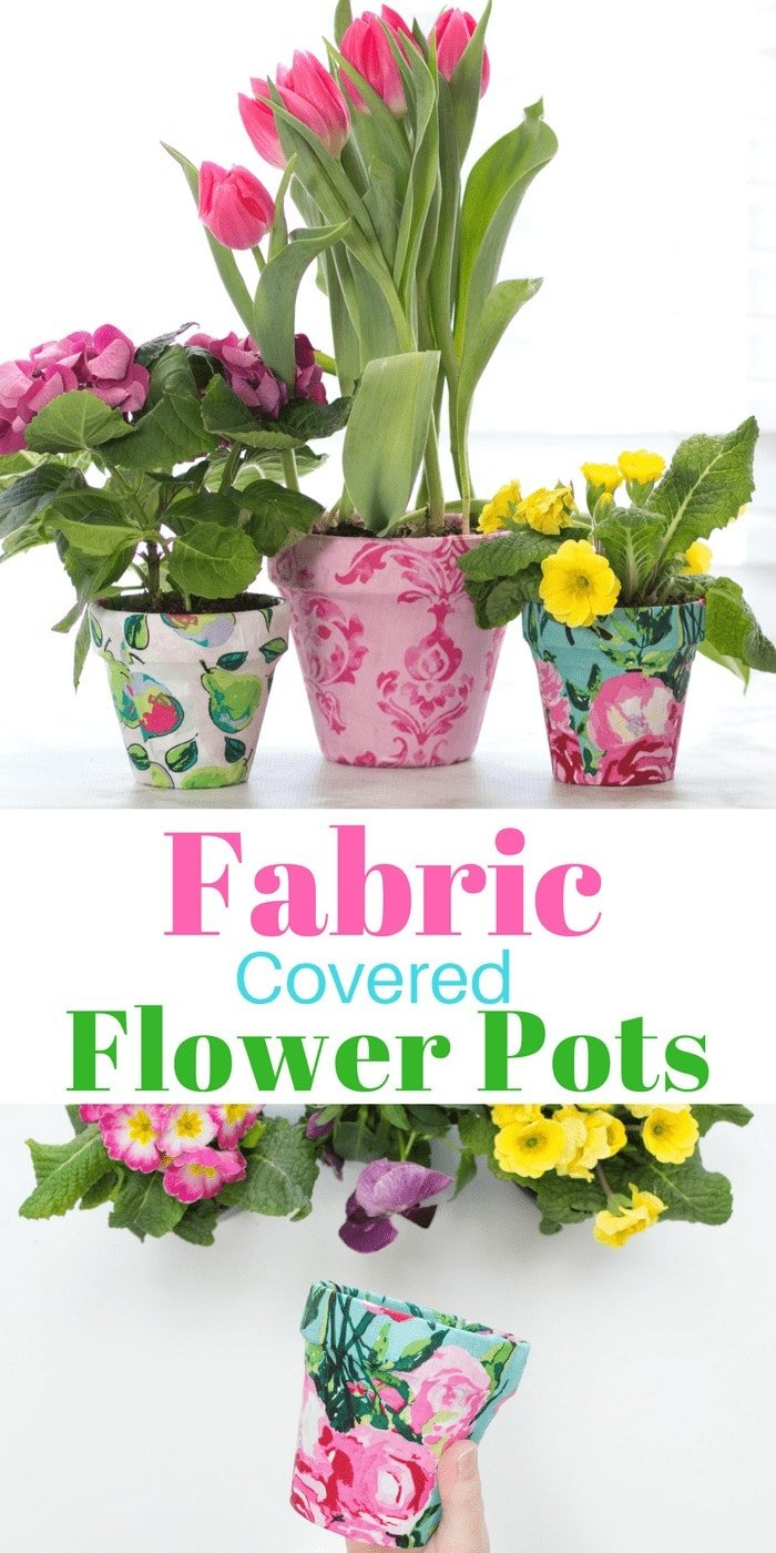 Create Beautiful Fabric Covered Flower Pots with this Simple Tutorial from Sweet Red Poppy! No Sewing Machine Needed.
