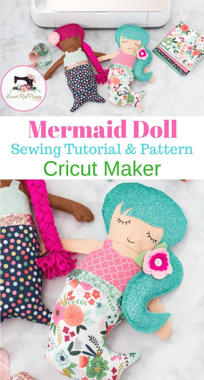 Learn How to Sew a Mermaid Doll Using Simplicity Sewing Patterns and the Cricut Maker. Step-by-Step Photo Tutorial and Video.