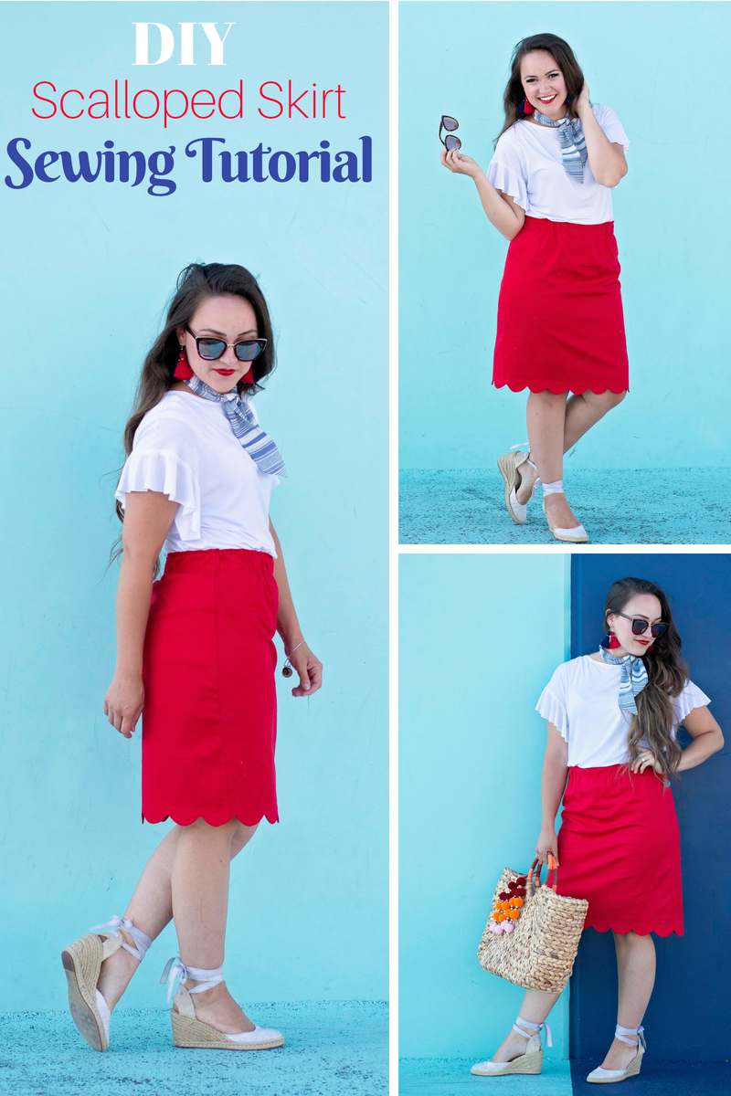 Learn How to Sew an Adorable Scalloped Skirt, Necktie and Ruffle Sleeved Blouse with these Free Sewing Tutorials and Patterns