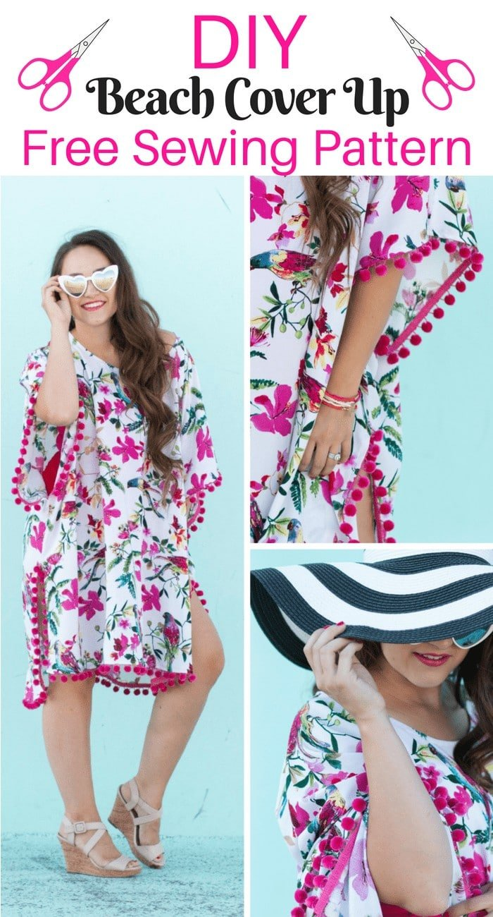 Learn how to sew a Beach Coverup with this Free Sewing Pattern and Step by Step Sewing Tutorial.