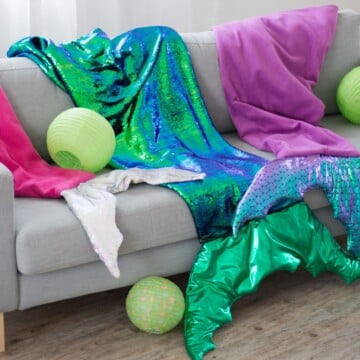 Mermaid Tail Blanket Pattern and Sewing Tutorial featured by top US sewing blogger, Sweet Red Poppy