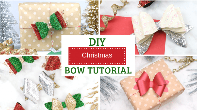 DIY Christmas Hair Bow Tutorial and FREE SVG Cut Files for 3d Bows.