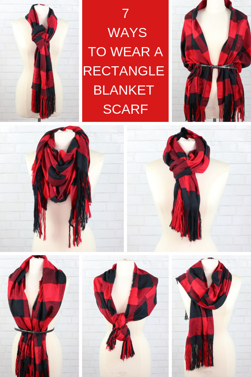 How to Make a No-Sew Plaid Blanket Scarf and Style it over 20 Different Ways, a tutorial featured by top US sewing blogger, Sweet Red Poppy.