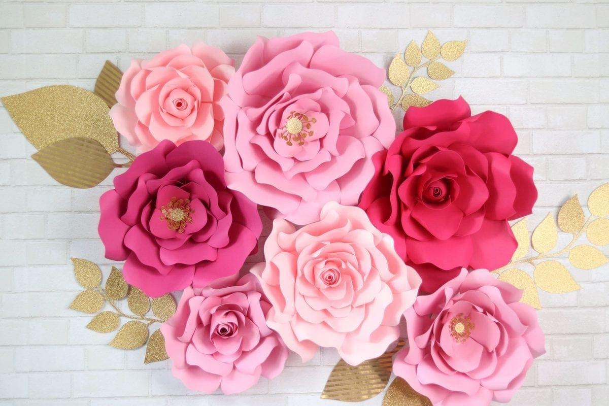 Layered Glitter Flowers Pink Flowers Scrapbook Flowers Paper Flowers Spring Paper Flowers Pink Glitter Paper Flowers