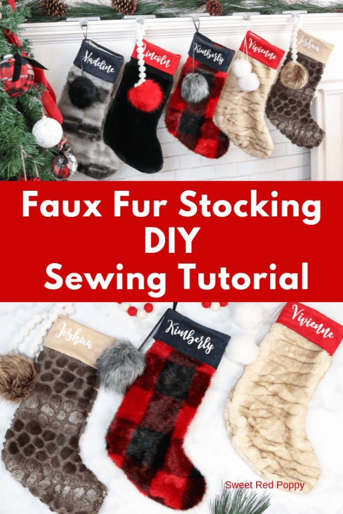 Learn How to Sew a Personalized Faux Fur Christmas Stocking with this Step-By-Step Sewing Tutorial With a Free Pattern Download.