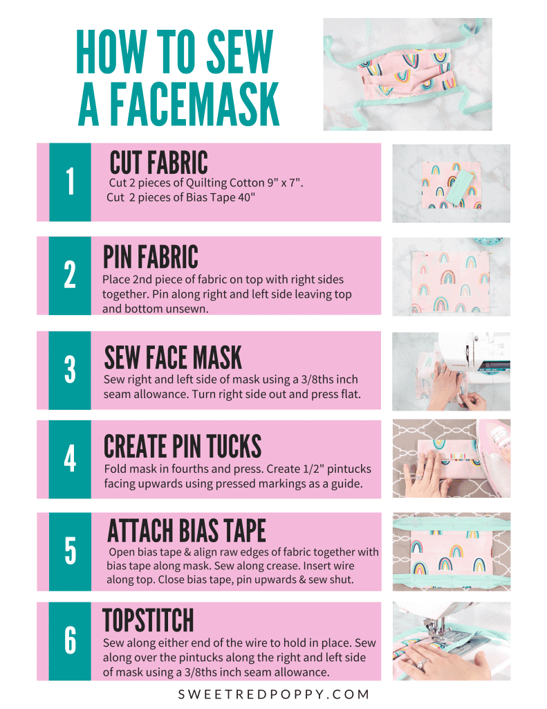 How To Sew A Custom Made Tape Surgical Face Mask With Flexible Nose Space