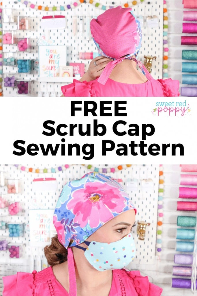 How to Make a Scrub Cap: FREE Sewing Pattern and Tutorial featured by top US sewing blog, Sweet Red Poppy
