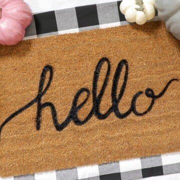 How to make a DIY Personalized Welcome door mat with a Freezer Paper Stencil using a Cricut Cutting Machine - FREE Custom SVG File Download
