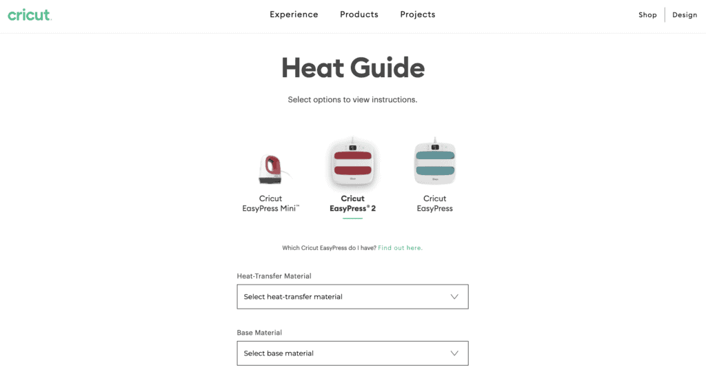 Cricut Heat Guide