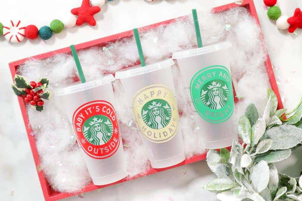 DIY Personalized Starbucks Cups Free SVG Template featured by top US craft blogger, Sweet Red Poppy.