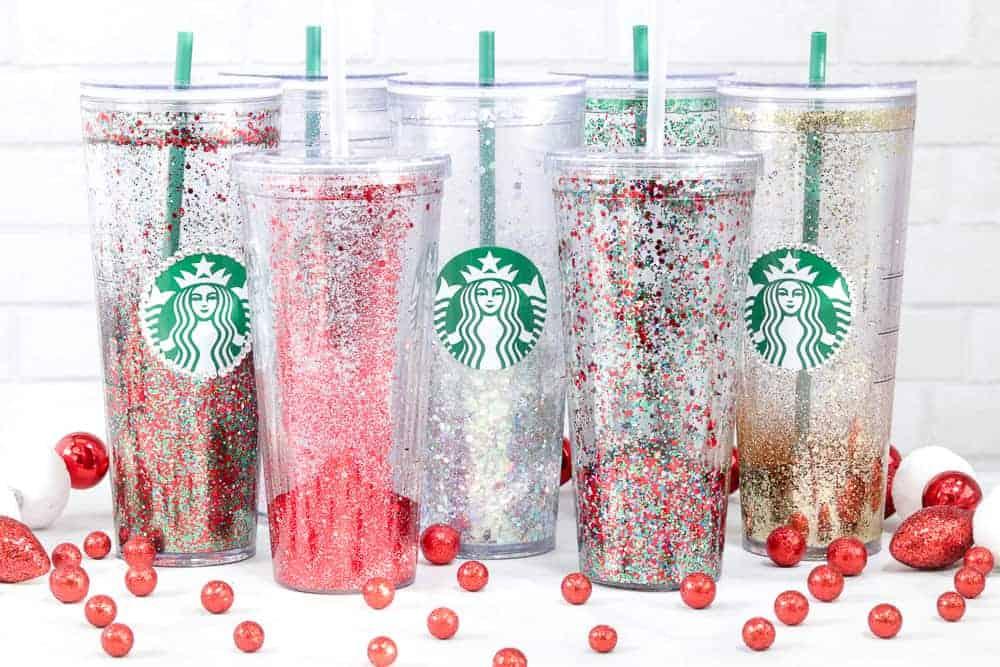 Custom Starbucks Glitter Tumbler