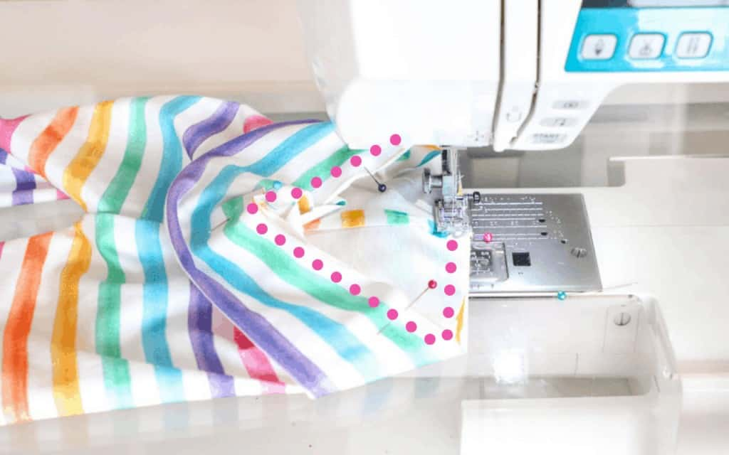 Sew the Waistband  Leggings Pattern by popular US sewing blog, Sweet Red Poppy: image of a woman sewing a kids leggings waistband.