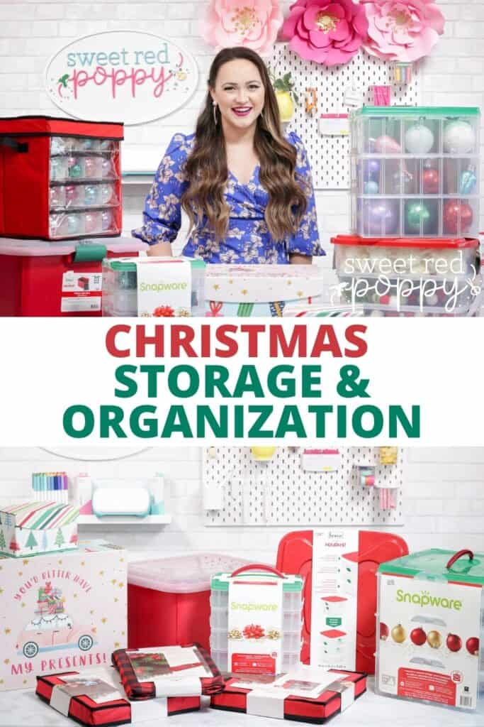 Joann Christmas Storage by popular US craft blog, Sweet Red Poppy: Pinterest image of a woman standing next to Joan storage containers.