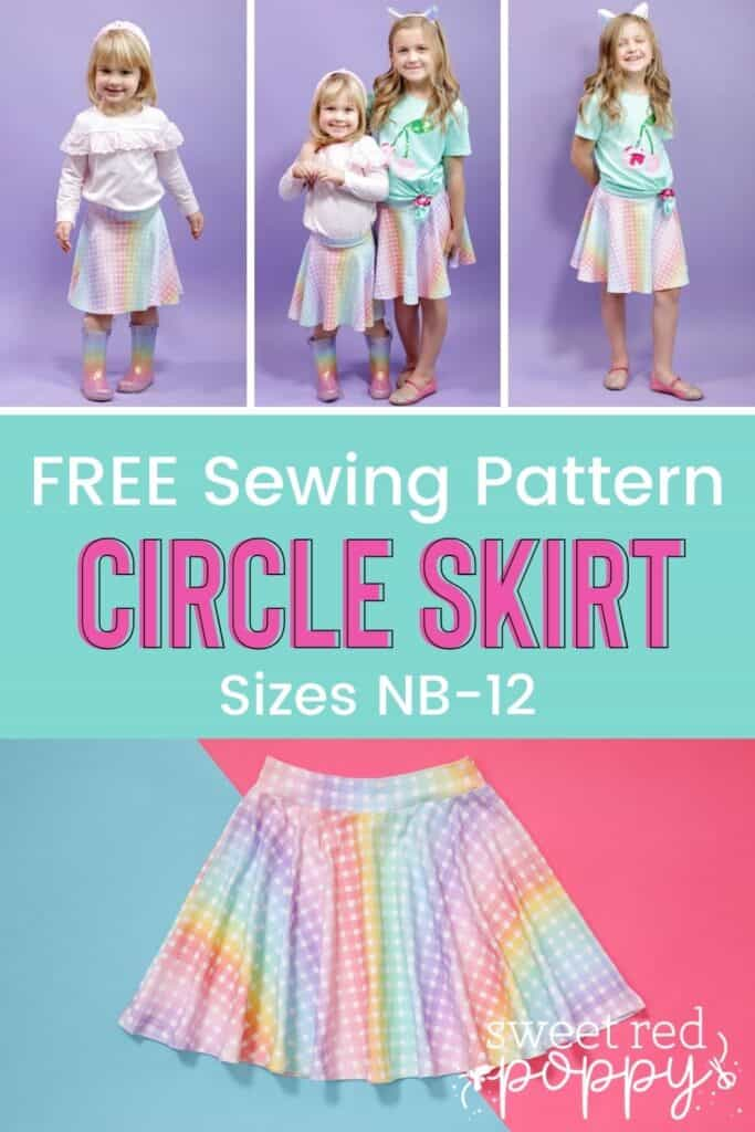 Circle Skirt by popular US sewing blog, Sweet Red Poppy: Pinterest image of two young girls wearing circle skirts.