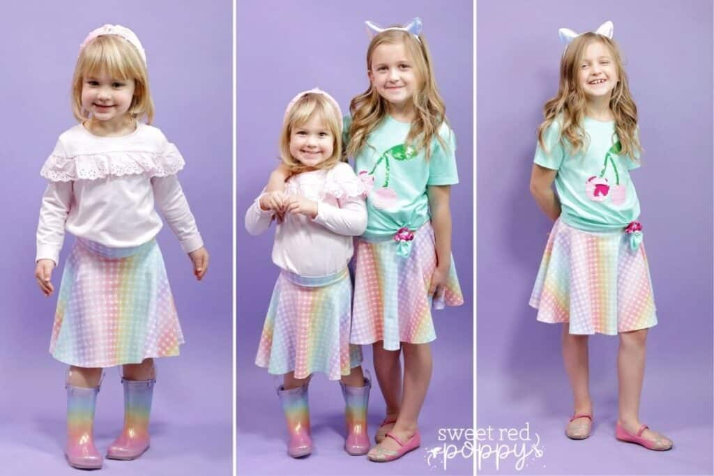 Janome Sewist by popular US sewing blog, Sweet Red Poppy: collage image of two young girls wearing matching circle skirts.